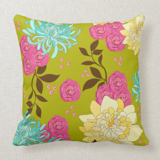 Chinoiserie Floral Design Emerald Green Throw Pillow