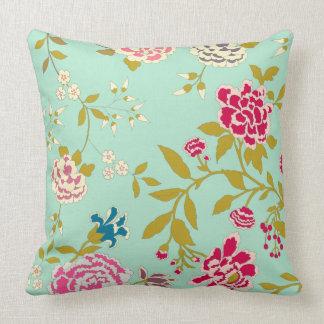 Chinoiserie Floral Design Jade Green Cushion