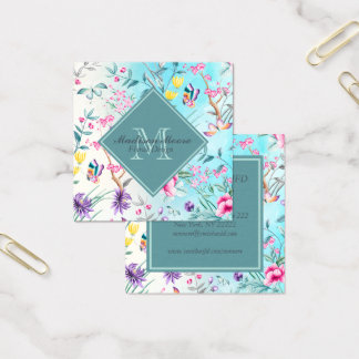 Chinoiserie Floral Pattern Square Business Card