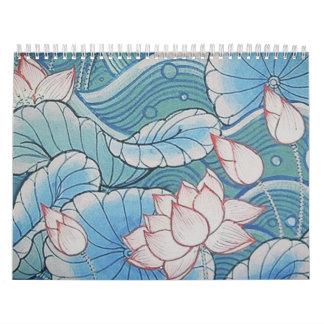 Chinoiserie Pastel Oriental Pink & Blue Floral Calendar