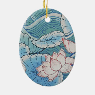 Chinoiserie Pastel Oriental Pink & Blue Floral Ceramic Ornament