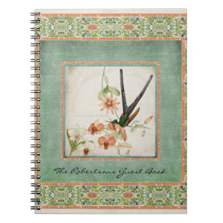 Chinoiserie Vintage Hummingbirds n Flowers Coral Notebooks