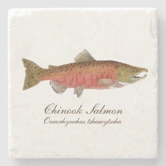 Chinok Salmon Coaster- 2 of set of 4 salmon specie Stone Coaster