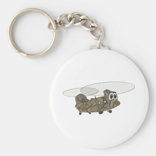 Chinook Camouflage Helicopter Cartoon Keychains