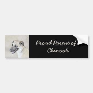 Chinook (Dropped Ears) Painting - Original Dog Art Bumper Sticker