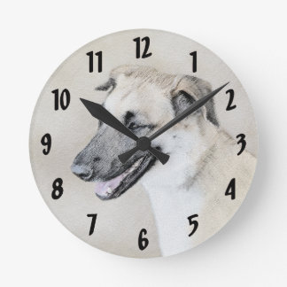 Chinook (Dropped Ears) Painting - Original Dog Art Round Clock
