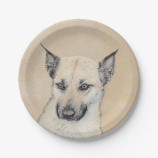 Chinook (Pointed Ears) Painting - Original Dog Art Paper Plate
