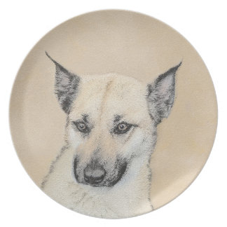 Chinook (Pointed Ears) Painting - Original Dog Art Plate
