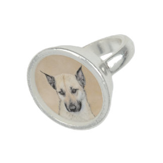 Chinook (Pointed Ears) Painting - Original Dog Art Ring