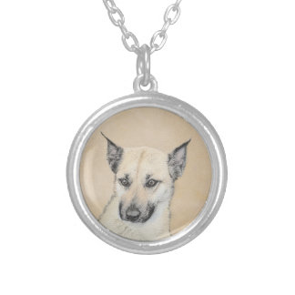 Chinook (Pointed Ears) Painting - Original Dog Art Silver Plated Necklace