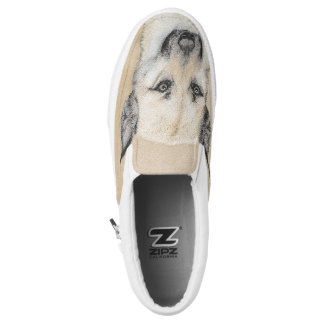Chinook (Pointed Ears) Painting - Original Dog Art Slip-On Shoes