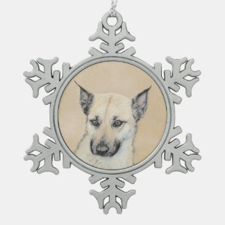 Chinook Puppy (Pointed Ears) Pewter Snowflake Decoration