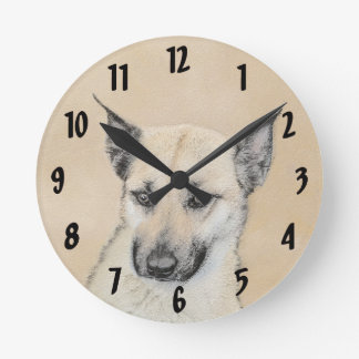 Chinook Puppy (Pointed Ears) Round Clock