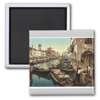 Chioggia, fish market, Venice, Italy vintage Photo Square Magnet