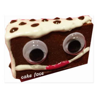 chip cake face with logo postcard