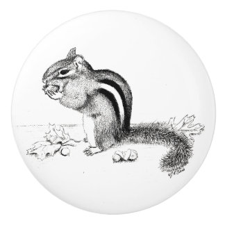 Chipmunk and Acorns Ceramic Knob