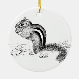 Chipmunk and Acorns Ceramic Ornament