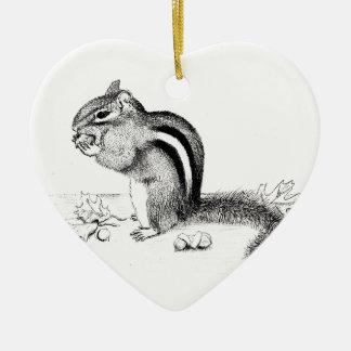 Chipmunk and Acorns Ceramic Ornament