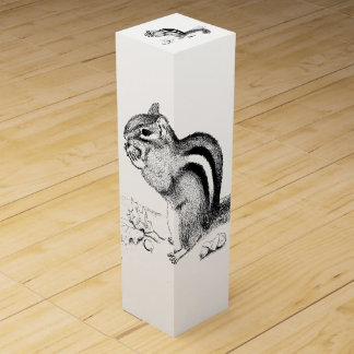 Chipmunk and Acorns Wine Box