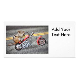 Chipmunk Biker Riding a Motorcycle Photo Card Template