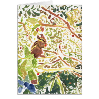 Chipmunk eating a berry note card (greeting)