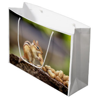 Chipmunk eating a peanut large gift bag