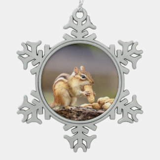 Chipmunk eating a peanut snowflake pewter christmas ornament