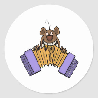 Chipmunk Eating Accordion Classic Round Sticker