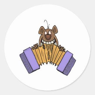 Chipmunk Eating Accordion Round Sticker