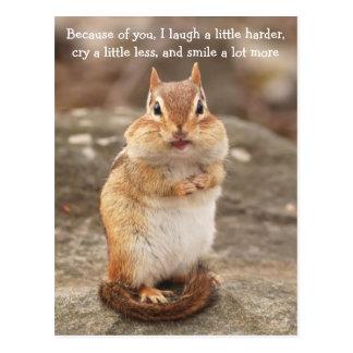 Chipmunk Friendship Quote Postcard