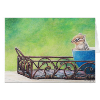 Chipmunk in Blue Bowl Animal Art Note Card