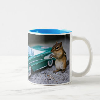 "Chipmunk Punk - ""She Drives Like an Animal!"" Two-Tone Coffee Mug"