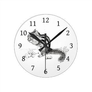 Chipmunk Round Clock