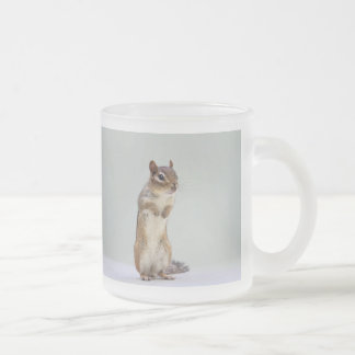 Chipmunk Standing Up Photo Frosted Glass Coffee Mug