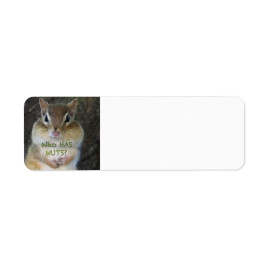 Chipmunk - Who Has Nuts? Return Address Label