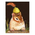 chipmunk with acorn and cardinal feather postcard