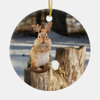 chipmunk with antlers! ceramic ornament