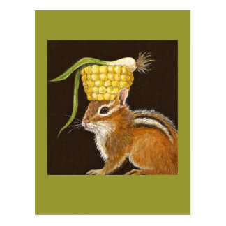 chipmunk with corn and scallion hat postcard
