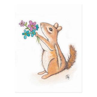 Chipmunk with Flower Bouquet Postcard