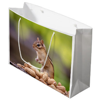 Chipmunk with peanuts large gift bag