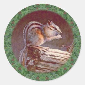 CHIPMUNK & WREATH by SHARON SHARPE Round Stickers