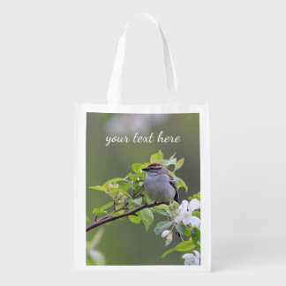 Chipping Sparrow Reusable Grocery Bag