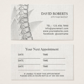 Chiropractic & Acupuncture Spine Lotus Appointment Business Card