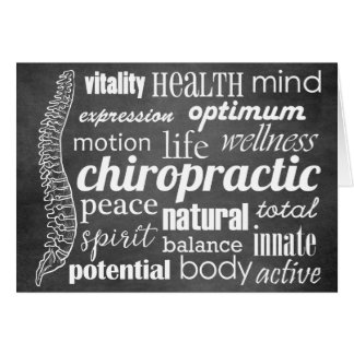 Chiropractic Word Collage Chalkboard Card