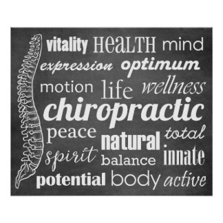 Chiropractic Word Collage Chalkboard Poster