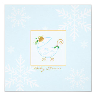 "Chirstmas Bulb Carriage Baby Shower Invitation 5.25"" Square Invitation Card"