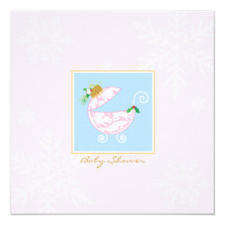 Chirstmas Bulb Carriage Baby Shower Invitation