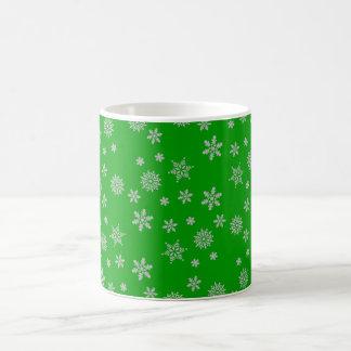 Chirstmas Green and Silver Snowflakes Coffee Mug