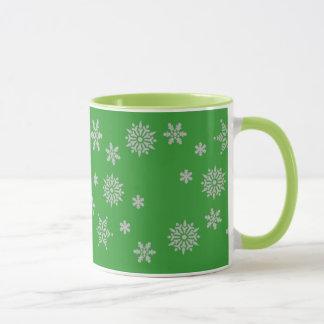 Chirstmas Green and Silver Snowflakes Mug