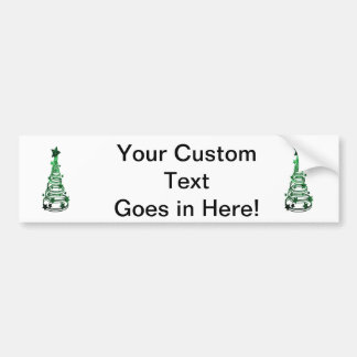 Chirstmas Tree swirls n star mottled green png Bumper Stickers